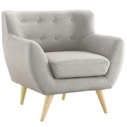 Madison Home USA Mid Century Modern Tufted Fabric Club Chair; Light Grey