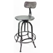 Vandue Corporation Arthur Adjustable Height Swivel Bar Stool (Set of 2); Vintage Pewter