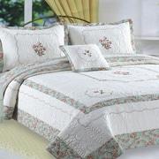 J&J Bedding Kona Flower Embroidery Quilt Cotton Throw