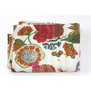 Filling Spaces Kantha Abstract Floral Cotton Throw; White