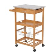 HomCom Kitchen Cart w/ Granite Top
