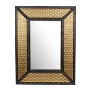Privilege Wood/Metal Mirror; Brass
