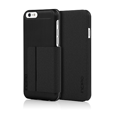 Incipio Highland Ultra-Thin Premium Folio with Brushed Aluminum Style Finish for iPhone 6, Black/Black, (IPH1183BLK)