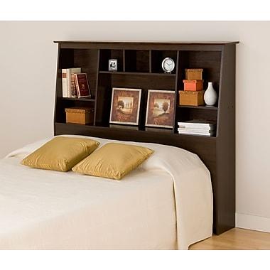PrepacMC – Tête de lit bibliothèque haute à profil incliné pour lit deux places ou grand lit, 65 3/4 po, fini espresso