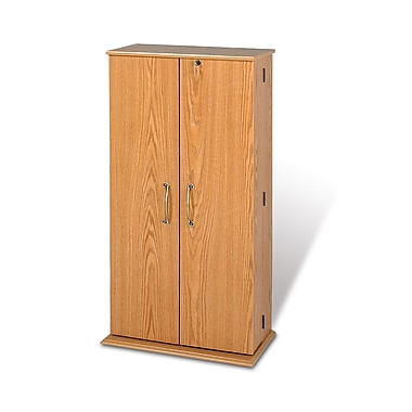 Prepac™ Tall Locking Media Storage Cabinet, Oak and Black