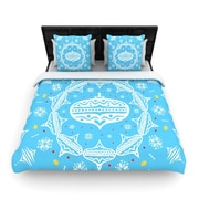 KESS InHouse Deco Wreath Blue by Miranda Mol Woven Duvet Cover; King/California King