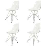 New Pacific Direct Allen Side Chair w/ Metal Wire Legs (Set of 4); Transparent by