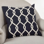 Saro Embroidered Cord Cotton Throw Pillow; Navy Blue