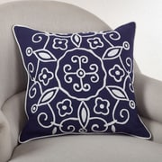 Saro Embroidered Suzani Cotton Throw Pillow; Navy Blue