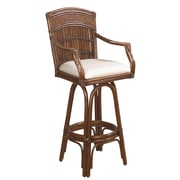 Hospitality Rattan Polynesian 30'' Swivel Bar Stool with Cushion