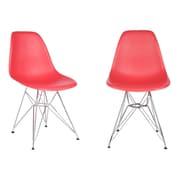 eModern Decor Slope Side Chair (Set of 2); Red