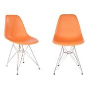 eModern Decor Slope Side Chair (Set of 2); Orange