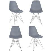 eModern Decor Slope Side Chair (Set of 4); Dark Gray