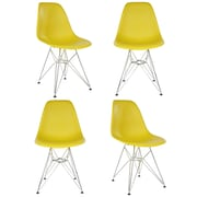 eModern Decor Slope Side Chair (Set of 4); Dark Yellow
