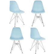 eModern Decor Slope Side Chair (Set of 4); Light Blue