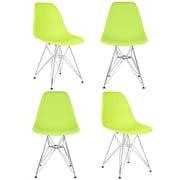 eModern Decor Slope Side Chair (Set of 4); Green