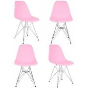eModern Decor Slope Side Chair (Set of 4); Pink