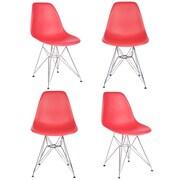 eModern Decor Slope Side Chair (Set of 4); Red
