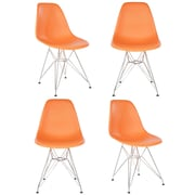 eModern Decor Slope Side Chair (Set of 4); Orange