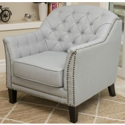 Home Loft Concepts Linfield Tufted Fabric Club Chair; Light Gray