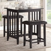 Roundhill Furniture 3 Piece Counter Height Pub Table Set; Black