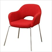 Wholesale Interiors Baxton Studio Mid-Century Modern Twill Executive Arm Chair in Red