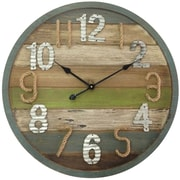 """Infinity Instruments 27.5""""  Wood Wall Clock w/ Rope and Metal Numbers (15167)"""