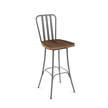 Amisco (41267-30WE/1B2487) Bond Swivel Metal Barstool with Distressed Wood Seat, Glossy Grey/Medium Brown