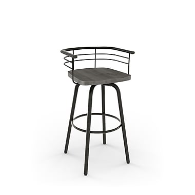 Amisco (41293-30WE/1B5189) Brisk Swivel Metal Barstool with Distressed Wood Seat, Gun Metal Finish/Light Grey