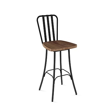 Amisco (41267-30WE/1B2587) Bond Swivel Metal Barstool with Distressed Wood Seat, Textured Black/Medium Brown