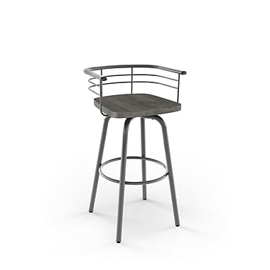 Amisco (41293-26WE/1B2489) Brisk Swivel Metal Counter Stool with Distressed Wood Seat, Glossy Grey/Light Grey