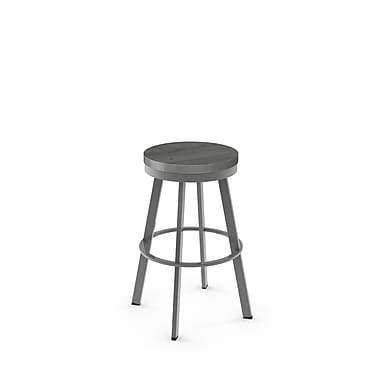 Amisco (42244-30WE/1B2489) Warner Swivel Metal Barstool with Distressed Wood Seat, Glossy Grey/Light Grey