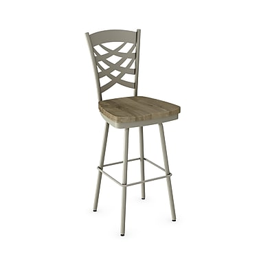 Amisco (41277-26WE/1B5686) Weaver Swivel Metal Counter Stool with Distressed Wood Seat, Matteet Light Grey/Beige