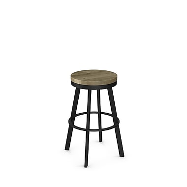 Amisco (42244-26WE/1B2586) Warner Swivel Metal Counter Stool with Distressed Wood Seat, Textured Black/Beige