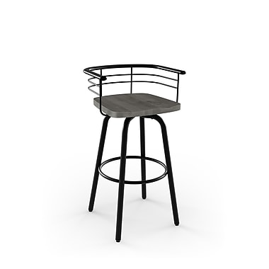 Amisco (41293-30WE/1B2589) Brisk Swivel Metal Barstool with Distressed Wood Seat, Textured Black/Light Grey
