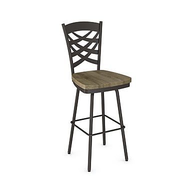 Amisco (41277-30WE/1B7586) Weaver Swivel Metal Barstool with Distressed Wood Seat, Textured Dark Brown/Beige
