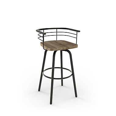 Amisco (41293-30WE/1B5186) Brisk Swivel Metal Barstool with Distressed Wood Seat, Gun Metal Finish/Beige