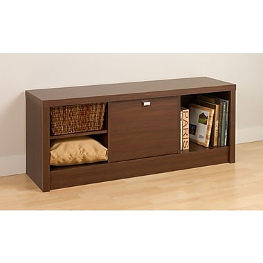 Prepac™ Series 9 Designer Composite Wood Cubbie Bench With Door, Brown Walnut
