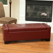 Home Loft Concepts Eastport Leather Storage Ottoman; Oxblood Red