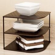 Seville Classics Perforated Corner Kitchen Cabinet Organizer Rack; Bronze