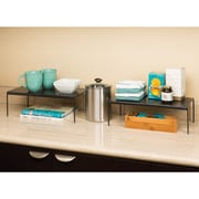 Seville Classics Perforated Expandable Kitchen Cabinet Shelf Organizer; Gun Metal