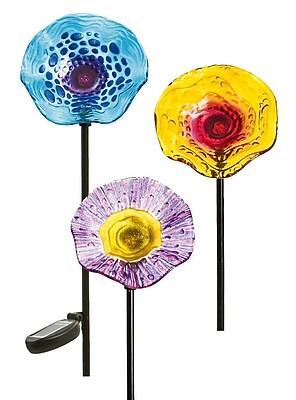 Evergreen Enterprises, Inc 3 Piece Speckled Glass Solar Flower Garden Stake Set WYF078278194127