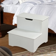 InRoom Designs 2-Step Manufactured Wood Storage Step Stool; White