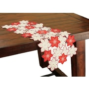 Xia Home Fashions Candy Cane Poinsettia Embroidered Cutwork Holiday Table Runner; 28'' W x 12'' D