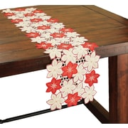 Xia Home Fashions Candy Cane Poinsettia Embroidered Cutwork Holiday Table Runner; 48'' W x 12'' D