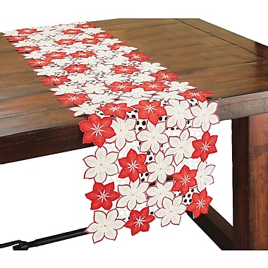 Xia Home Fashions Candy Cane Poinsettia Embroidered Cutwork Holiday Table Runner; 72'' W x 15'' L