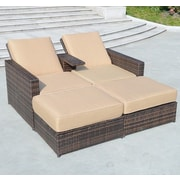 Outsunny 4 Piece Double Chaise Lounge w/ Cushion