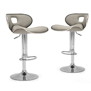 Glamour Home Decor Adjustable Height Swivel Bar Stool with Cushion (Set of 2); Ash Gray