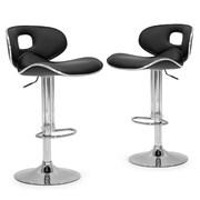Glamour Home Decor Adjustable Height Swivel Bar Stool with Cushion (Set of 2); Black