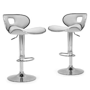Glamour Home Decor Adjustable Height Swivel Bar Stool with Cushion (Set of 2); White